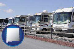 new-mexico recreational vehicles at an rv dealer parking lot