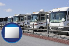 wyoming recreational vehicles at an rv dealer parking lot